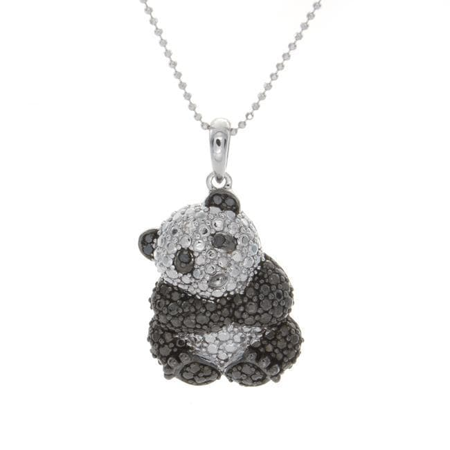 Sterling Silver Panda Pendant with Black&White Diamonds (J-K, I2-I3)