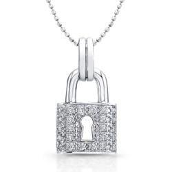 Sterling Silver & Diamond Lock Pendant (1/6ct TWT, J-K color, I2-I3 clarity) - Thumbnail 0