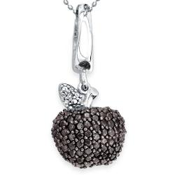 Sterling Silver & Black & White Diamond Apple Pendant/Charm with 18 inch sterling silver ball chain (J-K. I2-I3) - Thumbnail 0