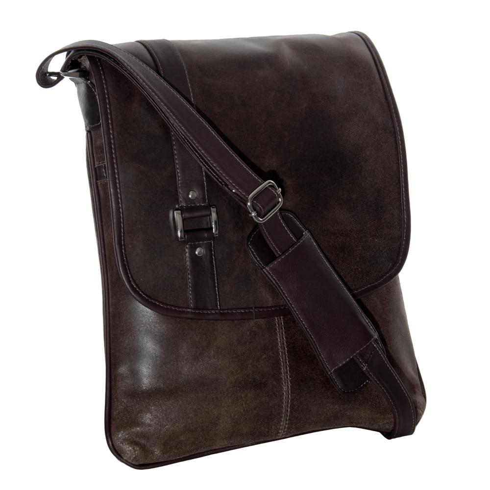 Piel Leather Vintage Laptop Vertical Slim Messenger Bag