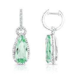 14kt Gold & Diamond Pear Shaped Halo Earrings with Gemstone Dangling Drops (I-J, I1-I2) - Thumbnail 0