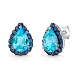 Sterling Silver Pear Shaped Halo Studs - Thumbnail 0