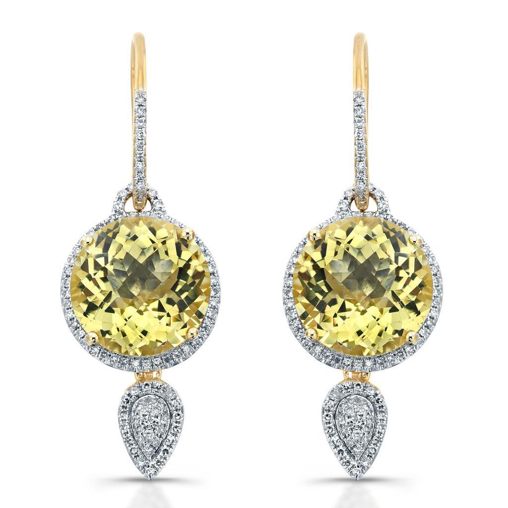 14kt Gold Diamond Halo & Gemstone Dangling Earrings( I-J, I1-I2)