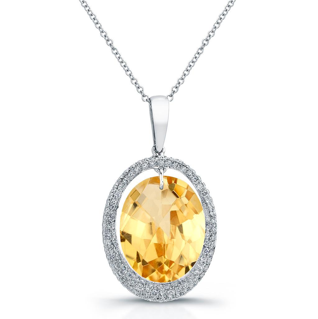 14KT Gold & Diamond Oval Halo Pendant with Gemstone Center (I-J, I1-I2)