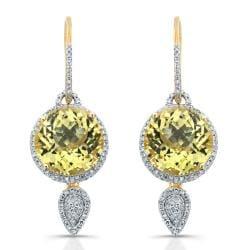 14kt Gold Diamond Halo & Gemstone Dangling Earrings( I-J, I1-I2) - Thumbnail 0