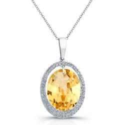 14KT Gold & Diamond Oval Halo Pendant with Gemstone Center (I-J, I1-I2) - Thumbnail 0
