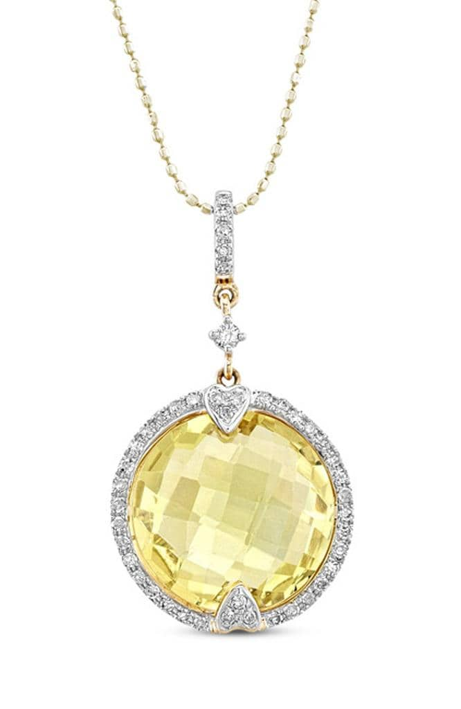 14kt Gold & Diamond Round Halo Diamond Pendant with Gemstone Center (I-J, I1-I2)