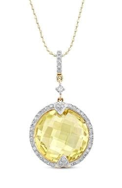 14kt Gold & Diamond Round Halo Diamond Pendant with Gemstone Center (I-J, I1-I2) - Thumbnail 0