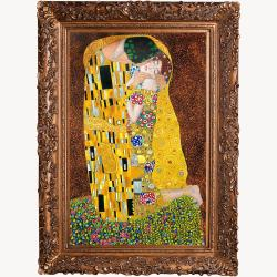 The Kiss, Full View by Gustav Klimt Framed Hand Painted Oil on Canvas