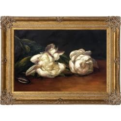 Branch Of White Peonies With Pruning Shears by Edouard Manet Framed Hand Painted Oil on Canvas