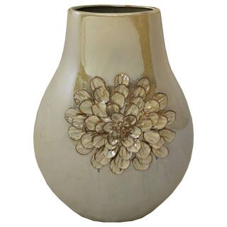 Belle Floral Artisan Handcrafted Ceramic Accent Vase|https://ak1.ostkcdn.com/images/products/9600057/P16785714.jpg?impolicy=medium