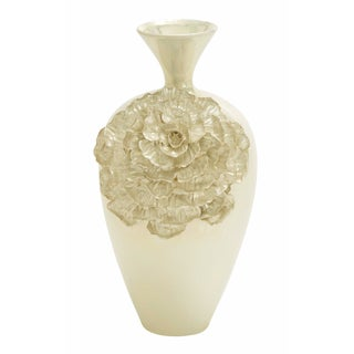 Duchesse Pearl Handcrafted Floral Tall Ceramic Accent Vase