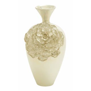 Duchesse Pearl Handcrafted Floral Tall Ceramic Accent Vase|https://ak1.ostkcdn.com/images/products/9600059/P16785715.jpg?impolicy=medium