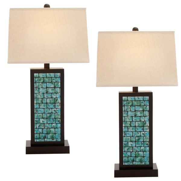 Shop Casa Cortes Teal Blue 3 Way Switch 31 Inch Wood Table Lamp Set