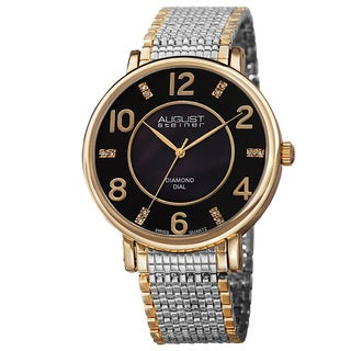 August Steiner Men's Ultra-Thin Swiss Quartz Mother of Pearl Diamond Dial Two-Tone Bracelet Watch