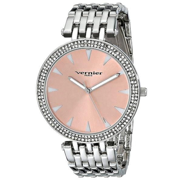 Vernier Paris Women's 7 Link Crystal Bezel Silvertone Bracelet Watch