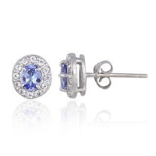Glitzy Rocks Sterling Silver Tanzanite and Topaz Oval Stud Earrings
