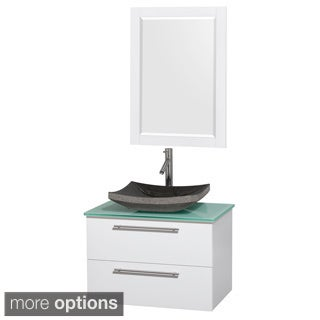 Wyndham Collection Amare 30-inch Glossy White/ Green Glass Single Vanity with Mirror and Glossy Sink