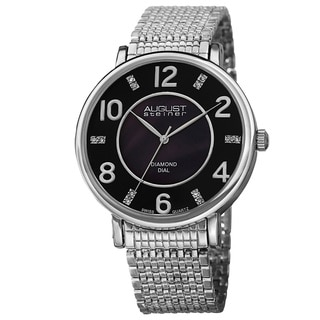August Steiner Men's Ultra-thin Swiss Quartz Diamond Silver-Tone Bracelet Watch