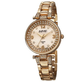 August Steiner Women's AST8137YG Swiss Quartz Diamond Markers Gold-Tone Bracelet Watch