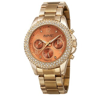 August Steiner Women's AST8136YGOR Swiss Quartz Diamond Gold-Tone Bracelet Watch with FREE Bangle