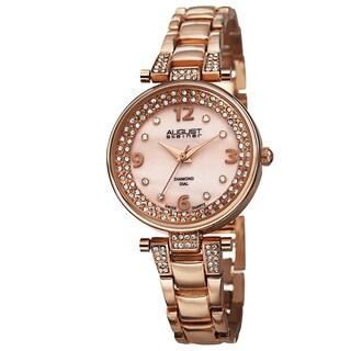 August Steiner Women's AST8137RG Swiss Quartz Diamond Markers Rose-Tone Bracelet Watch