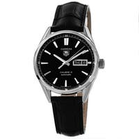 Tag Heuer Men's WAR201A.FC6266 'Carrera' Black Dial Day Date Black Strap Watch