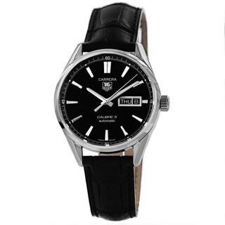 Tag Heuer Men's 'Carrera' Black Dial Day Date Black Strap Watch