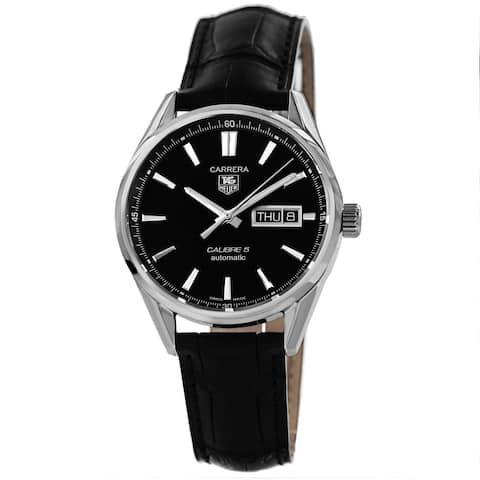 Tag Heuer Men's WAR201A.FC6266 'Carrera' Black Dial Day Date Black Strap Watch