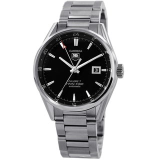 Tag Heuer Men's WAR2010.BA0723 'Carrera' Black Dial GMT Stainless Steel Watch