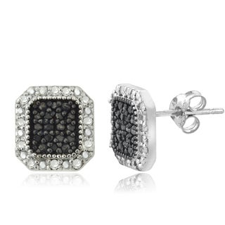 DB Designs Sterling Silver 1/2ct TDW Black and White Diamond Square Stud Earrings