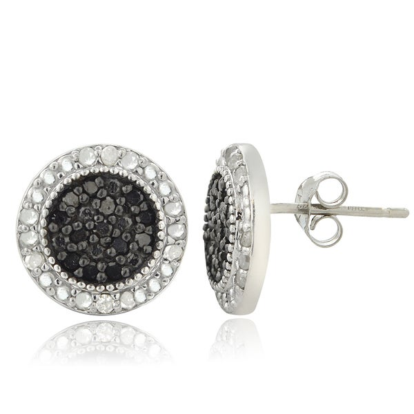 DB Designs Sterling Silver 1/2ct TDW Black and White Diamond Stud Earrings