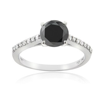 DB Designs Sterling Silver 1 1/7ct TDW Black and White Diamond Engagement Ring