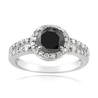 DB Designs Sterling Silver 1 1/4ct TDW Black and White Diamond Solitaire Ring