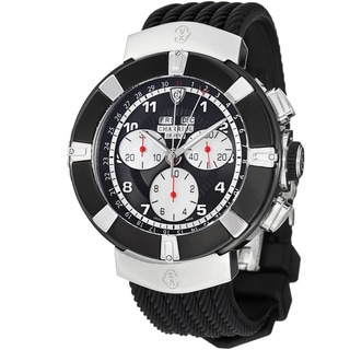 Charriol Men's C44B.173.001 'Celtica' Black Dial Black Rubber Strap Chronograph Watch