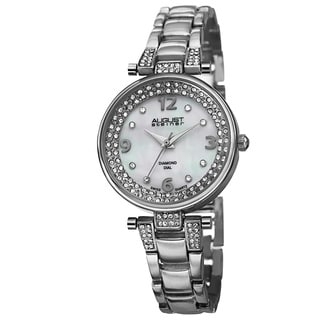 August Steiner Women's Swiss Quartz Diamond Markers Silver-Tone Bracelet Watch