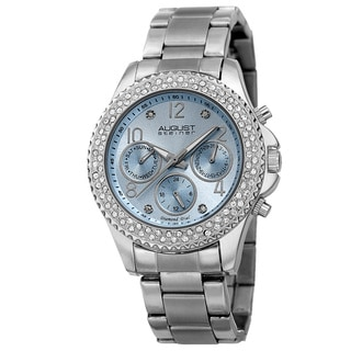 August Steiner Women's AST8136SSLB Swiss Quartz Diamond Silver-Tone Bracelet Watch
