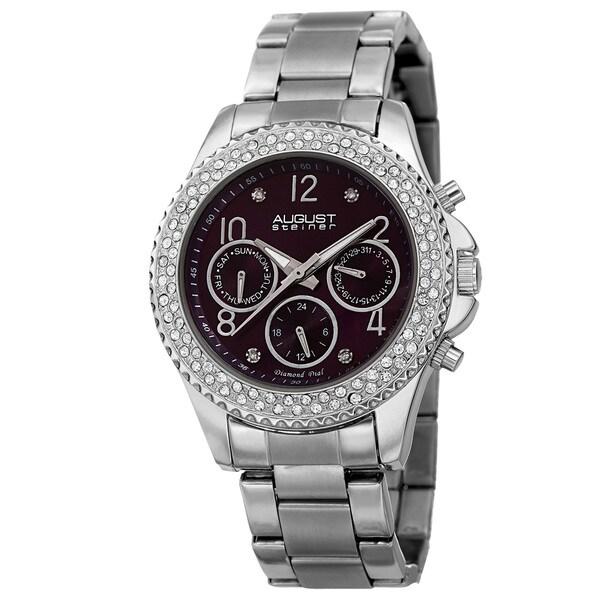 August Steiner Women's AST8136SSPU Swiss Quartz Diamond Silver-Tone Bracelet Watch