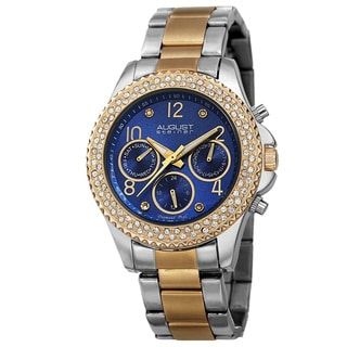 August Steiner Women's AST8136TTBU Swiss Quartz Diamond Blue Bracelet Watch