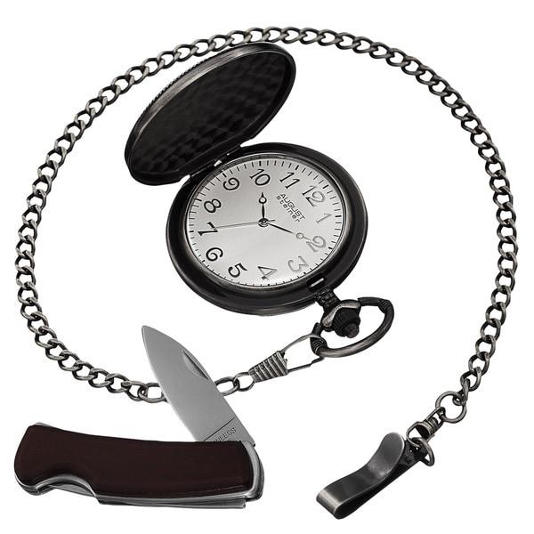 August Steiner Men's Quartz Pocket Watch & Pocket Knife - black