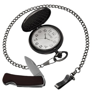 August Steiner Men S Quartz Pocket Watch Pocket Knife Black