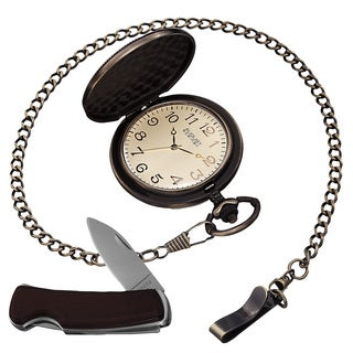 August Steiner Men's Quartz Pocket Watch & Pocket Knife