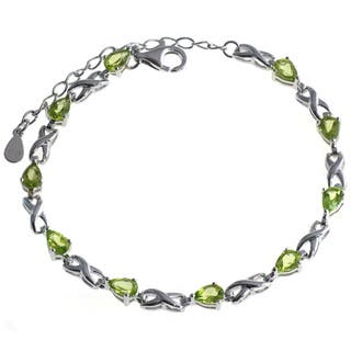 De Buman Sterling Silver Natural Garnet, Peridot, Amethyst or Multi-colored Gemstones Bracelet|https://ak1.ostkcdn.com/images/products/9600184/P16785477.jpg?impolicy=medium