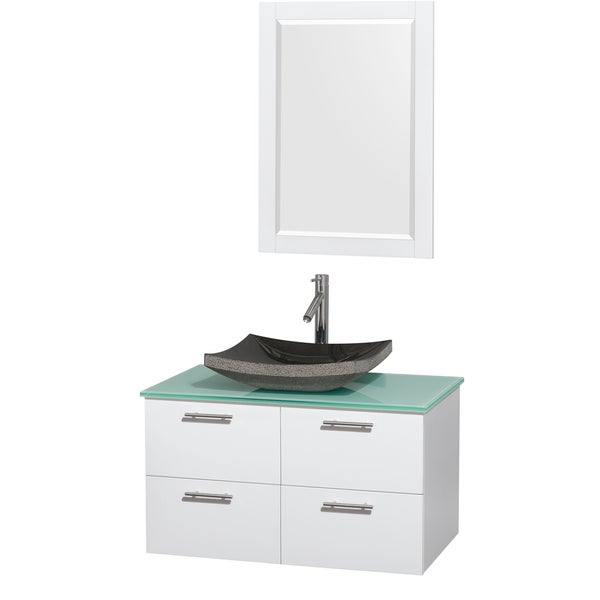 Wyndham Collection Amare 36-inch Glossy White/ Green Glass Single Vanity with Mirror