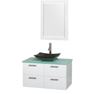 Wyndham Collection Amare 36-inch Glossy White/ Green Glass Single Vanity with Mirror and Polished Sink
