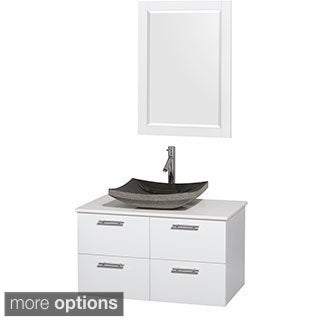 Wyndham Collection Amare 36-inch Glossy White/ White Stone Single Vanity with Mirror