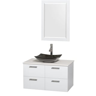 Wyndham Collection Amare 36-inch Glossy White/ White Stone Single Vanity with Mirror and Glossy Sink
