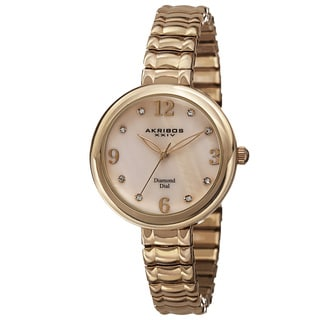 Akribos XXIV Women's Quartz Diamond Markers Expandable Gold-Tone Bracelet Watch