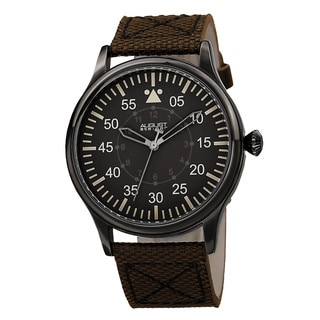 August Steiner Men's Swiss Quartz Canvas Brown Strap Watch