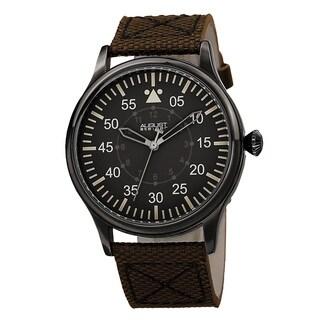 August Steiner Men's Swiss Quartz Canvas Brown Strap Watch